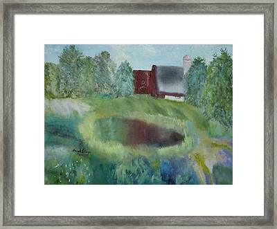 Barn By Pond Framed Print