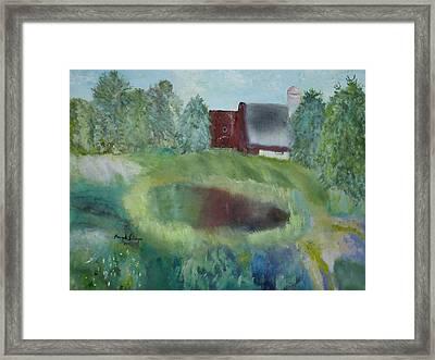 Barn By Pond Framed Print by Aleezah Selinger