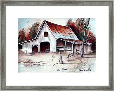 Framed Print featuring the painting Barn by Denise Fulmer