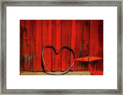 Barn Door With Heart Framed Print