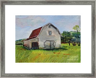 Framed Print featuring the painting Barn-harrison Park, Ellijay-pinson Barn by Jan Dappen