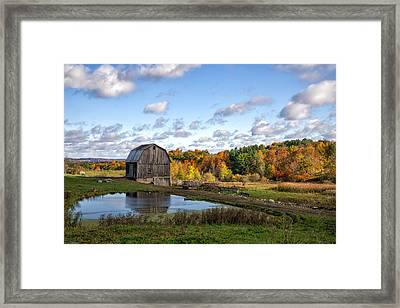 Framed Print featuring the photograph Barn In Autumn by Mark Papke