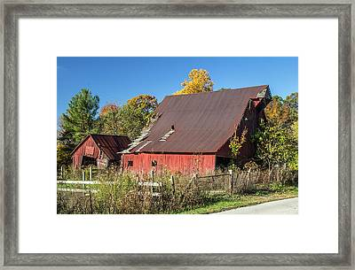 Barn In Autumn Framed Print by William Morris