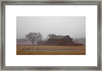 Framed Print featuring the photograph Barn In Fog - Color by Kirkodd Photography Of New England
