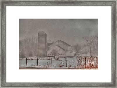 Barn In Fog Framed Print