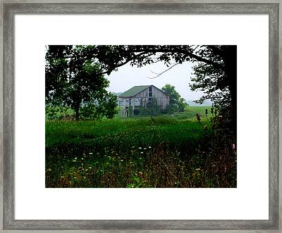 Barn In Meadow Framed Print by Michael L Kimble