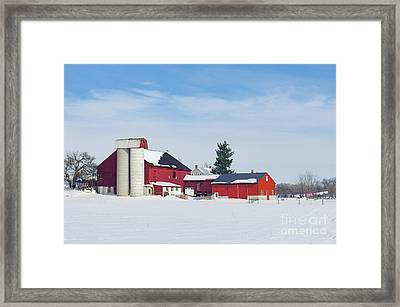 Barn In Snow Covered Meadow Framed Print