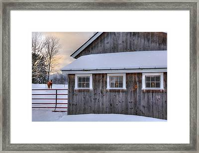 Barn In Snow - White Mountains, New Hampshire Framed Print by Joann Vitali