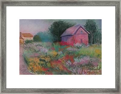 Colorful Barn In Summer Framed Print
