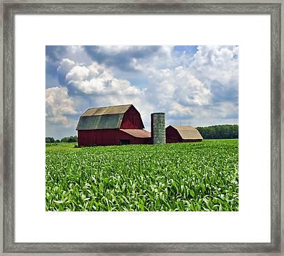 Barn In The Corn Framed Print