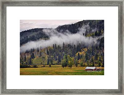 Barn In The Mist Framed Print