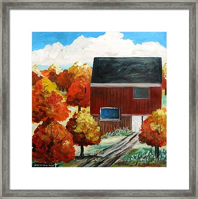 Barn In The Orchard Framed Print by John Williams