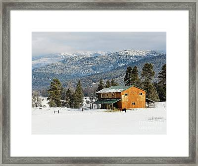 Barn In The Snow Framed Print by Melody Watson