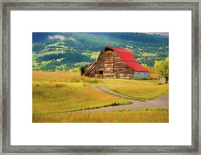 Barn In Victor Idaho Framed Print by TL Mair