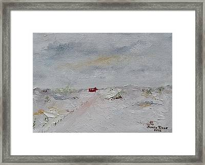 Framed Print featuring the painting Barn In Winter by Judith Rhue