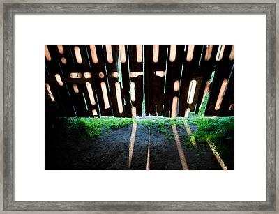 Barn Interior Shadows Framed Print