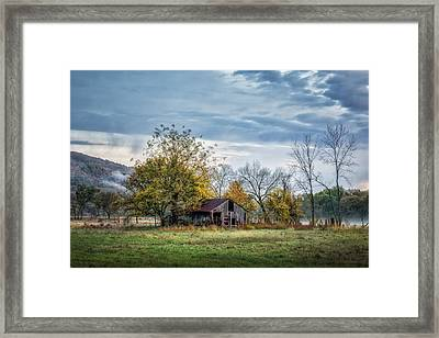 Barn On A Misty Morning Framed Print
