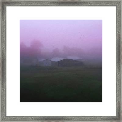 Barn On A Misty Morning Framed Print