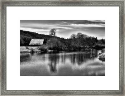 Barn On Fall River Framed Print by Dennis Adams