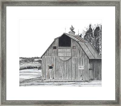 Barn On Hillside Framed Print