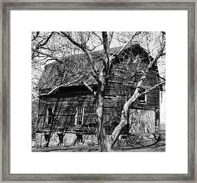 Barn On Stone Foundation Framed Print