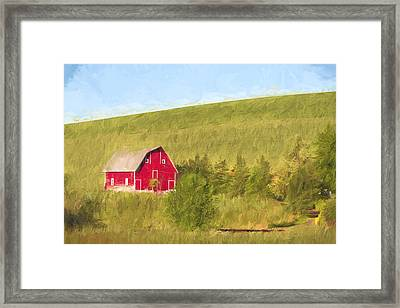 Barn On The Hill II Framed Print by Jon Glaser