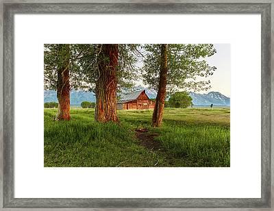 Barn On The Path Framed Print