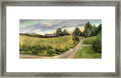 Barn On The Ridge In West Newbury Vermont Framed Print