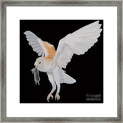 Framed Print featuring the painting Barn Owl by Eric Kempson