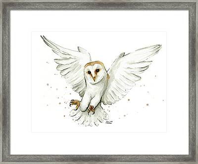 Barn Owl Flying Watercolor Framed Print by Olga Shvartsur
