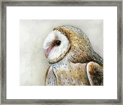 Barn Owl Watercolor Framed Print by Olga Shvartsur