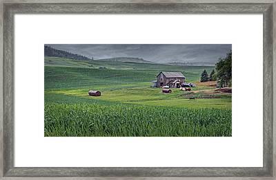 Barn - Rainy Day - Palouse Framed Print