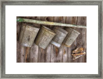 Barn Scenes - Old Skates And Sap Cans Framed Print