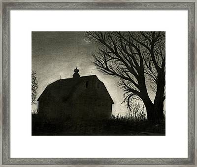 Barn Sillouette Framed Print by Bryan Baumeister
