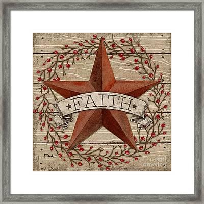 Barn Star With Berries I Framed Print