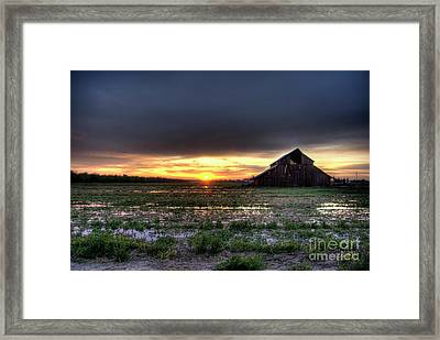 Framed Print featuring the photograph Barn Sunrise by Jim and Emily Bush