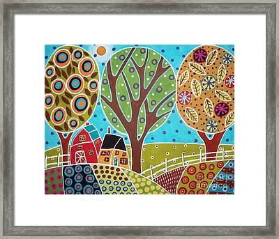 Barn Trees And Garden Framed Print