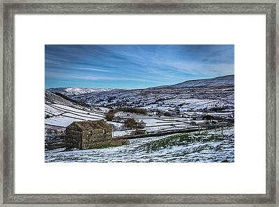 Barn View In The Snow. Framed Print by Yorkshire In Colour