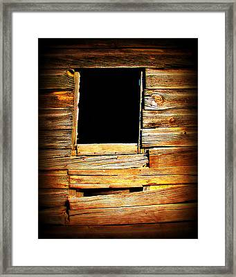 Barn Window Framed Print by Perry Webster