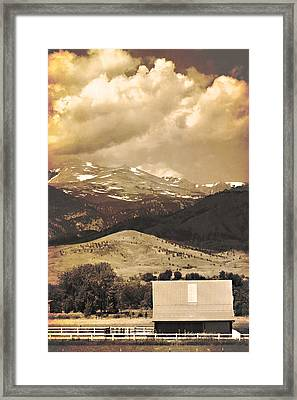 Barn With A Rocky Mountain View In Sepia Framed Print by James BO  Insogna