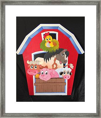 Barn With Animals Framed Print