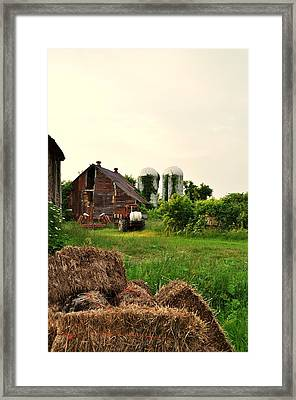 Barn With Silos And Hay Framed Print