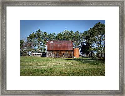 Barn With Tree In Silo Framed Print by Douglas Barnett