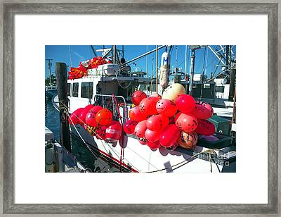 Framed Print featuring the photograph Barnegat Red Buoys by John Rizzuto