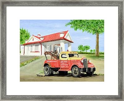 Barnett Garage Framed Print