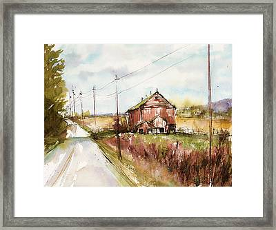 Barns And Electric Poles, Sunday Drive Framed Print by Judith Levins