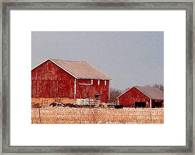 Barns In Winter Framed Print by David Bearden