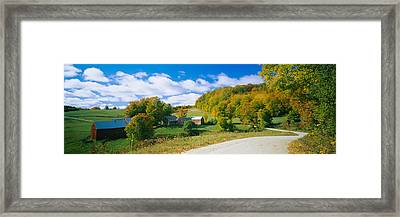 Barns Near A Road, Jenny Farm, Vermont Framed Print by Panoramic Images