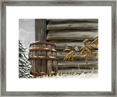 Framed Print featuring the digital art Barnyard Barrel And Chickadee by Darren Cannell