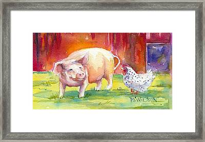 Barnyard Conversations Framed Print by Peggy Wilson